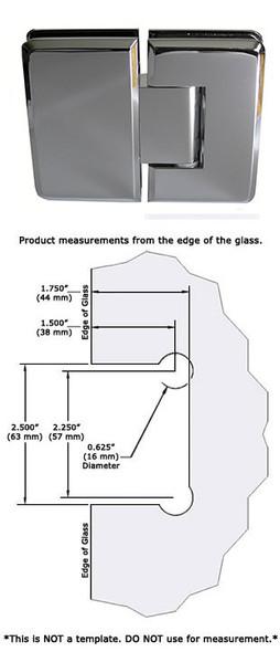Chrome Cambridge 180 Degree Glass To Glass Shower Door Hinge