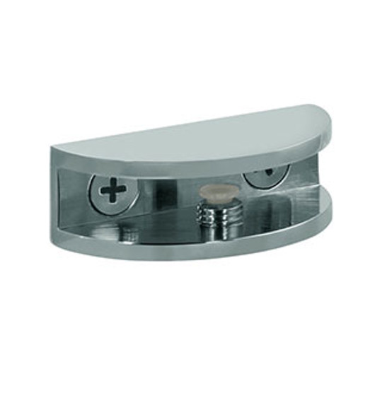 "Chrome Rounded Interior Shower Shelf Clamp for 5/16"" to 3/8"" Glass"