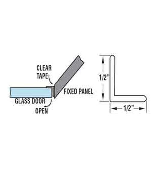 "Clear ""L "" Angle Shower Door Strike Jamb Seal- 95"" Long"