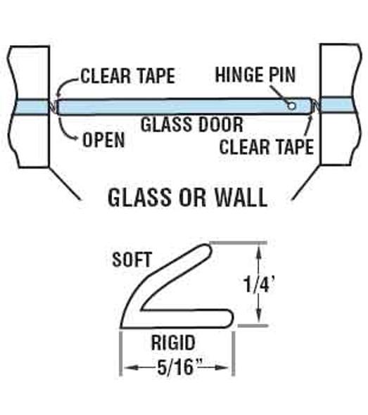 "Clear ""V"" Shower Door Seal - 98"" Long"