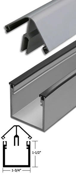"Clear Anodized Aluminum 90 Corner Deep Back Division Bar 95"" Long"