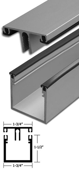 "Clear Anodized Aluminum Deep Back Division Bar 95"" Long"