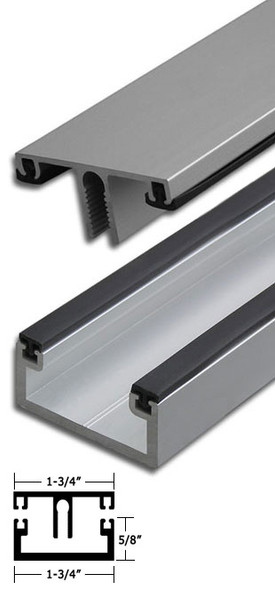"Clear Anodized Aluminum Shallow Back Division Bar 95"" Long"