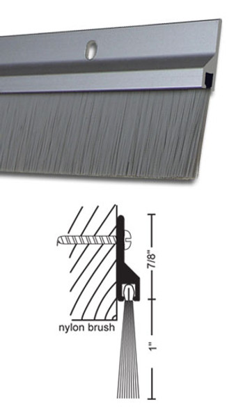 "Clear Anodized Aluminum with 1"" Brush Door Sweep 36"""