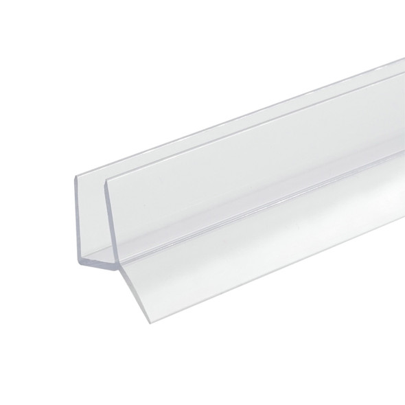 """Clear Shower Door Bottom Rail and Wipe Seal For 1/2"""" Glass - 48"""" Long"""