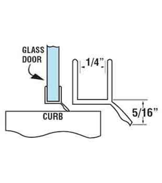 """Clear Shower Door Bottom Rail and Wipe Seal For 1/4"""" Glass - 48"""" Long"""