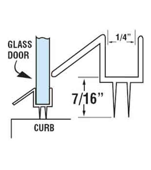 "Clear Shower Door Drip Rail and Wipe Seal For 1/4"" Glass- 95"" Long"