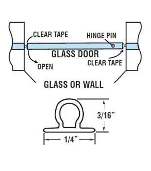 "Clear Vinyl Bulb Shower Door Seal - 98"" Long"