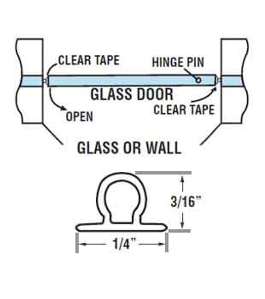 "Clear Vinyl Bulb Shower Door Seal - 98"" Long"
