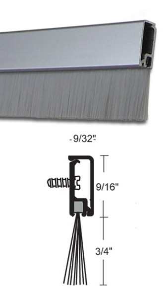 """Concealed Fastener Clear Anodized Aluminum with Brush Door Sweep 36"""""""