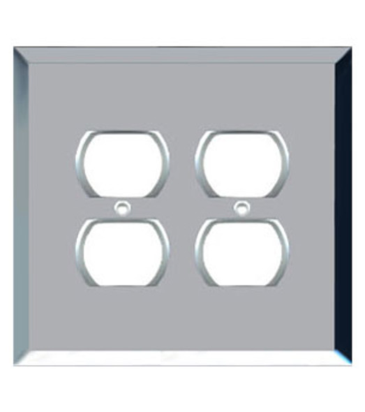 Custom Jumbo Double Duplex Glass Mirror Outlet Cover Plate