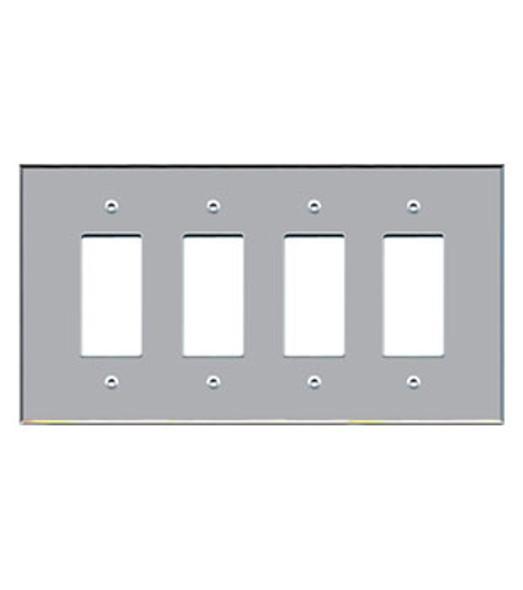 Custom Jumbo Quad Decora Acrylic Mirror Switch Cover Plate