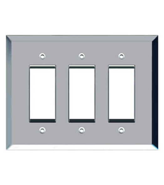 Custom Jumbo Triple Decora Glass Mirror Switch Cover Plate