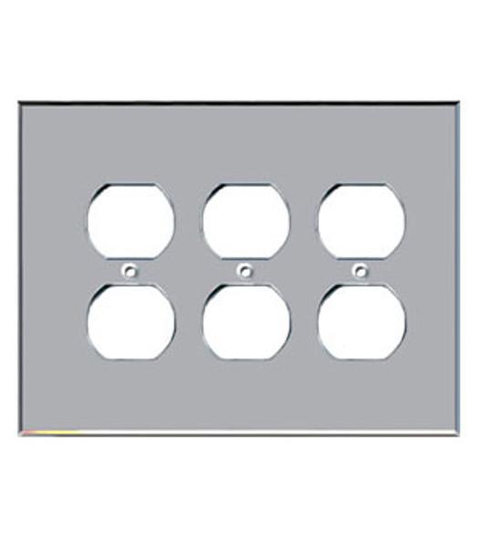 Custom Jumbo Triple Duplex Acrylic Mirror Outlet Cover Plate