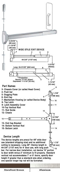 Fire Rated Surface Rod Panic Exit Device With Pull Plate 48""