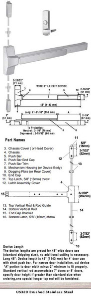 """Grade 1  Surface Rod Panic With Night Latch Lever Trim US32D 48"""""""