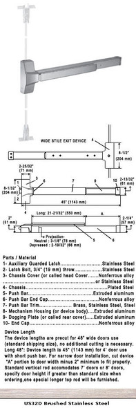 """Grade 1 Fire Rated CVR Panic Exit Device US32D Finish 48"""""""