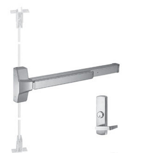 Grade 1 Fire Rated CVR Panic Exit Device W/ Night Latch Trim US32D 48""