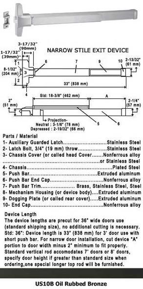 "Grade 1 Fire Rated Narrow Stile Push Bar Rim Panic US10B Finish 36"""