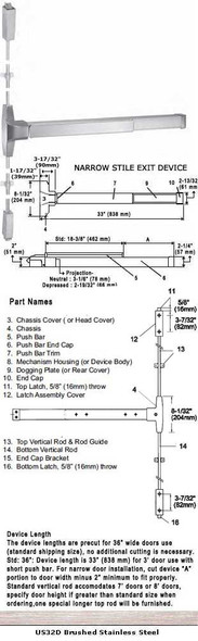 """Grade 1 Fire Rated Narrow Stile Surface Mount Panic US32D Finish 36"""""""