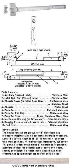 "Grade 1 Fire Rated Push Bar Rim Panic W/ Cylinder Pull Trim US32D 48"""