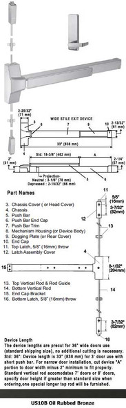 """Grade 1 Fire Rated Surface Rod Panic Device W/HD Lever Trim US10B 36"""""""