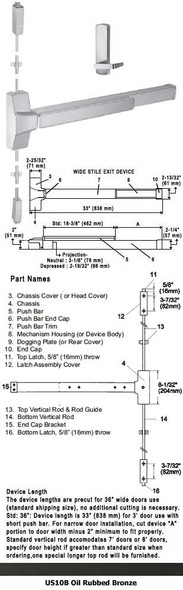 """Grade 1 Fire Rated Surface Rod Panic Device With Lever Trim US10B 36"""""""