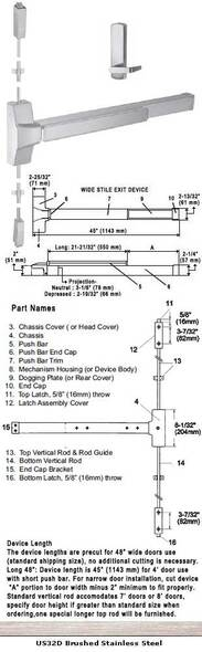 """Grade 1 Fire Rated Surface Rod Panic Device With Lever Trim 48"""" 8830F-48"""