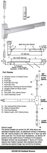 """Grade 1 Fire Rated Surface Rod Panic Night Latch Lever Trim US10B 36"""""""