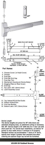 """Grade 1 Fire Rated Surface Rod Panic W/ Locking Lever Trim US10B 36"""""""