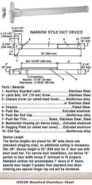 """Grade 1 Narrow Stile Push Bar Rim Panic Exit Device US32D Finish 36"""""""