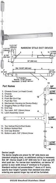 "Grade 1 Narrow Stile Surface Rod Panic Exit Device US32D Finish 36"""