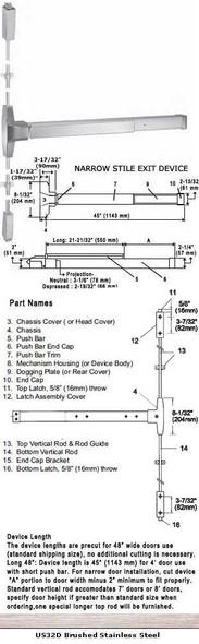 "Grade 1 Narrow Stile Surface Rod Panic Exit Device US32D Finish 48"""