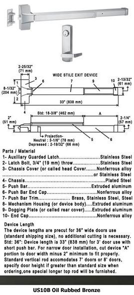 "Grade 1 Push Bar Rim Panic Exit Device W/Locking Lever Trim US10B 36"""