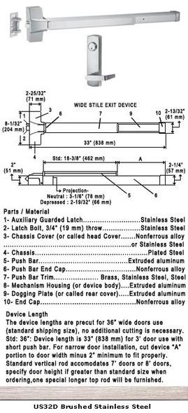 "Grade 1 Push Bar Rim Panic Exit Device W/Locking Lever Trim US32D 36"""