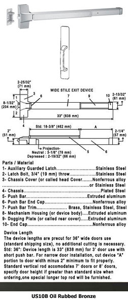 "Grade 1 Push Bar Rim Panic Exit Device With Pull Plate Trim US10B 36"""