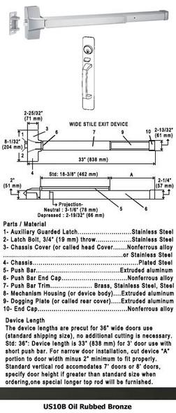 "Grade 1 Push Bar Rim Panic W/Lock Thumbpiece Pull Plate Trim US10B 36"""