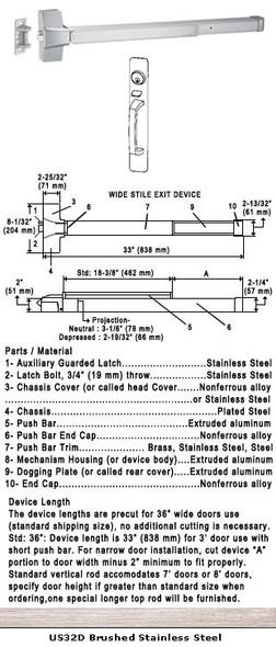 "Grade 1 Push Bar Rim Panic W/Lock Thumbpiece Pull Plate Trim US32D 36"""