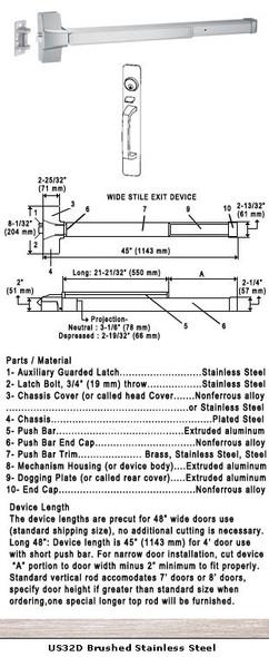 "Grade 1 Push Bar Rim Panic W/Lock Thumbpiece Pull Plate Trim US32D 48"""