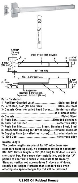 "Grade 1 Push Bar Rim Panic With Cylinder Pull Plate Trim US10B 36"""