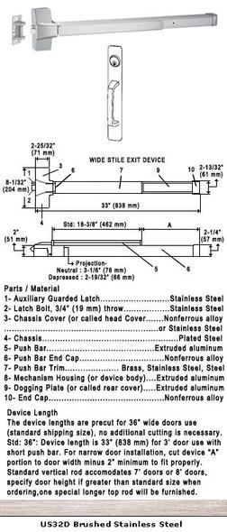 "Grade 1 Push Bar Rim Panic With Cylinder Pull Plate Trim US32D 36"""