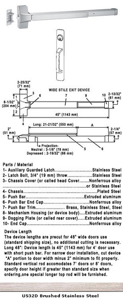 "Grade 1 Push Bar Rim Panic With Cylinder Pull Plate Trim US32D 48"""