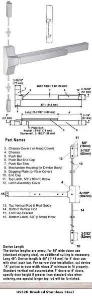 """Grade 1 Surface Rod Panic Exit Device With Pull Plate Trim US32D 48"""""""