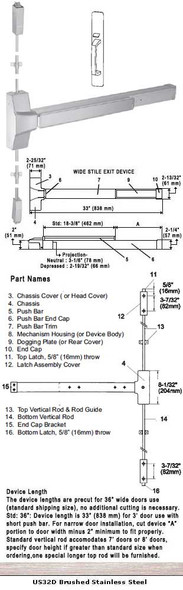 """Grade 1 Surface Rod Panic With Thumbpiece Pull Plate Trim US32D 36"""""""