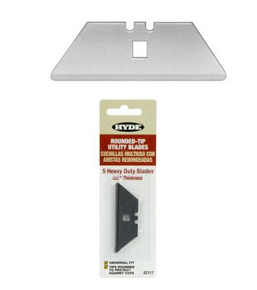 Heavy Duty Rounded Corner Notched Utility Knife Blades 5 Pack