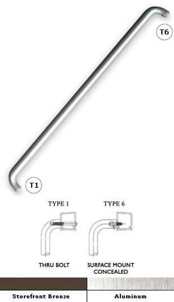 "International 1"" Rd. Solid Aluminum Double Bend Door Push Bar 33-1/16"""