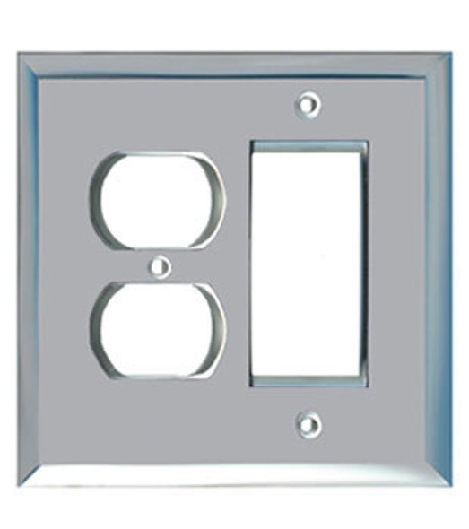 1 Decora + 1 Duplex Glass Mirror Outlet Cover Plate