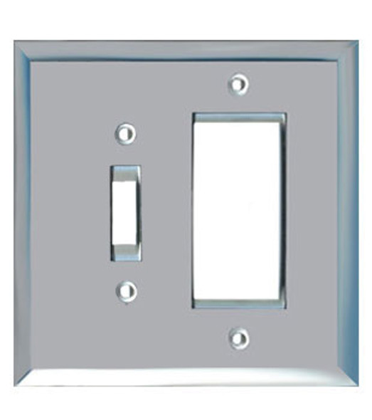 1 Decora + 1 Toggle Glass Mirror Outlet Cover Plate