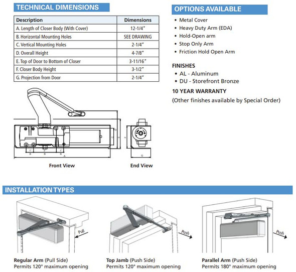 International 44CI Grade 1 Surface Mount Door Closer With Cushion Arm