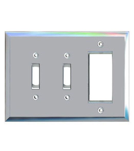 1 Decora + 2 Toggle Glass Mirror Outlet Cover Plate